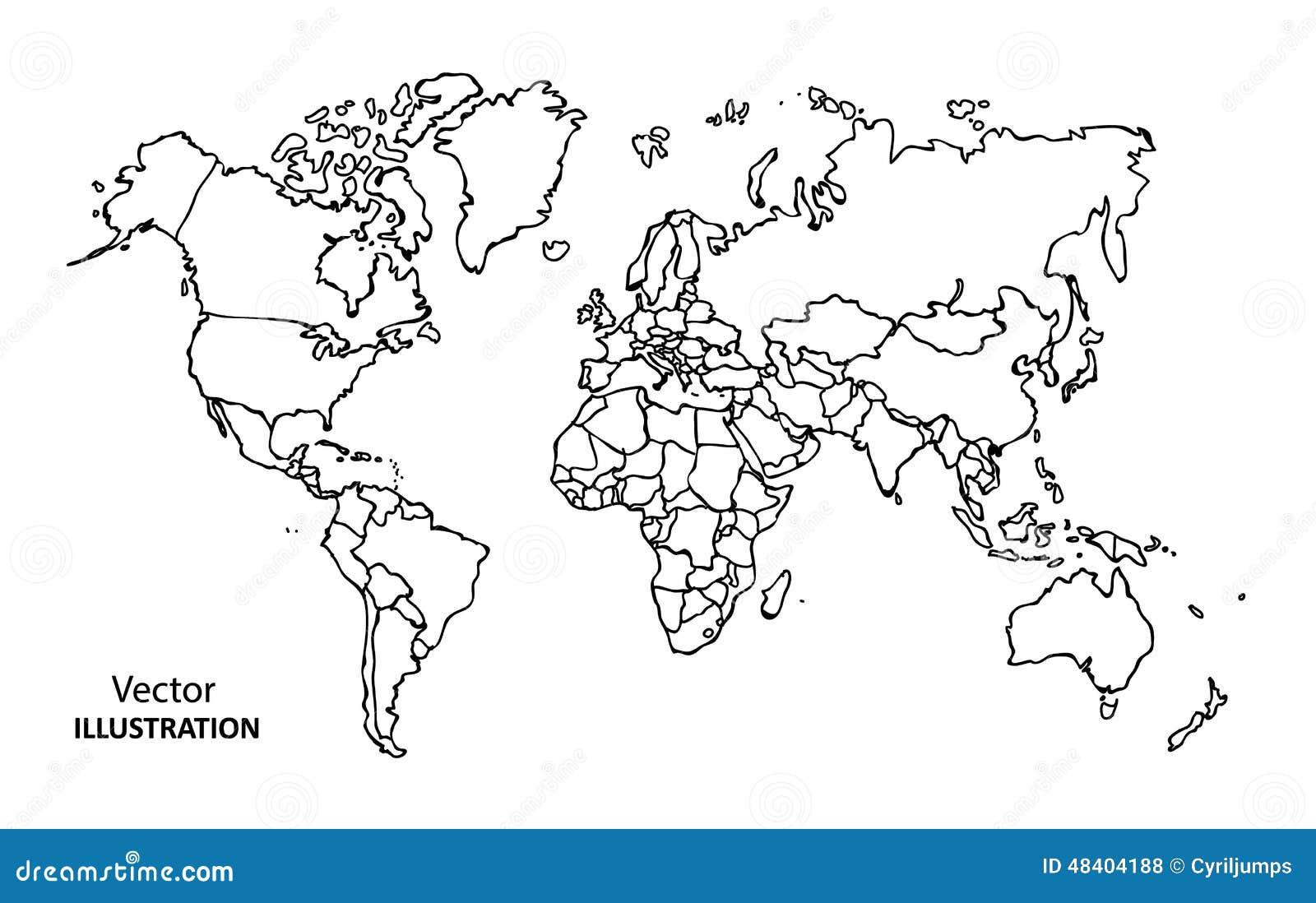 Mappa di mondo del disegno della mano con i paesi - Foto della mappa del mondo da stampare ...