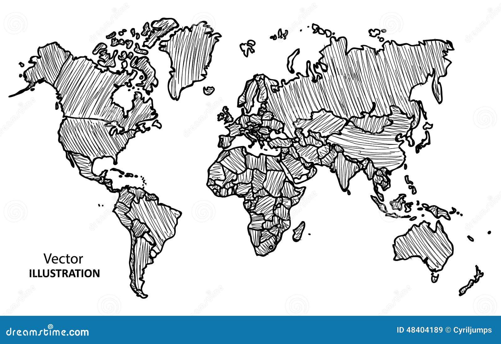 Mappa di mondo del disegno della mano con i paesi for Mappa mondo bianco e nero