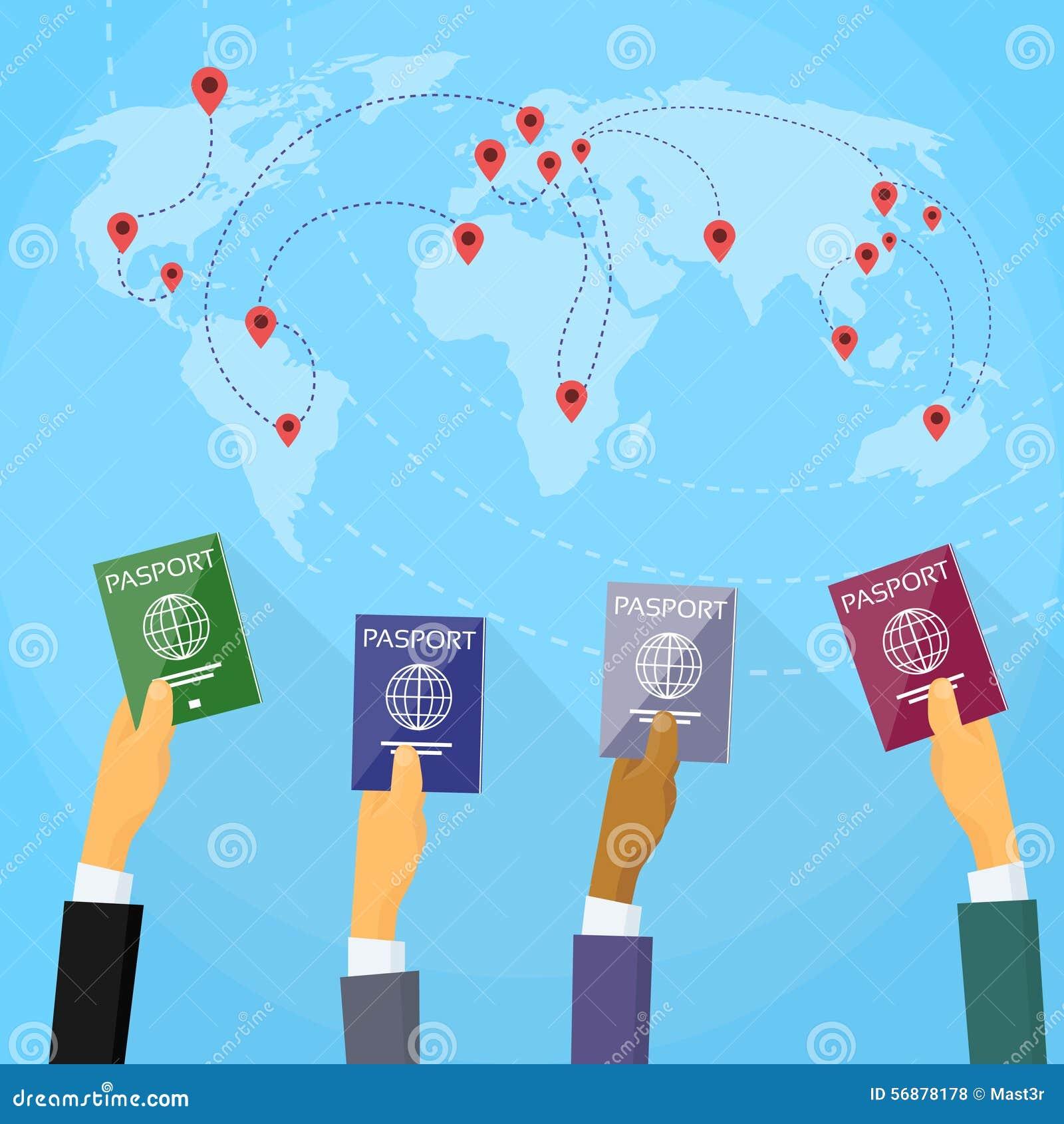 Mappa di mondo del documento di viaggio della mano del passaporto piana