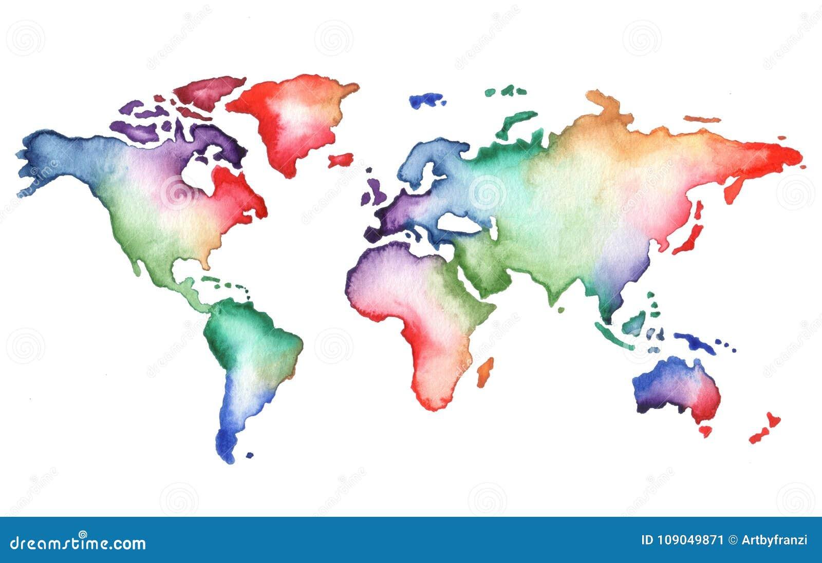 Mappa di mondo dipinta a mano dell acquerello
