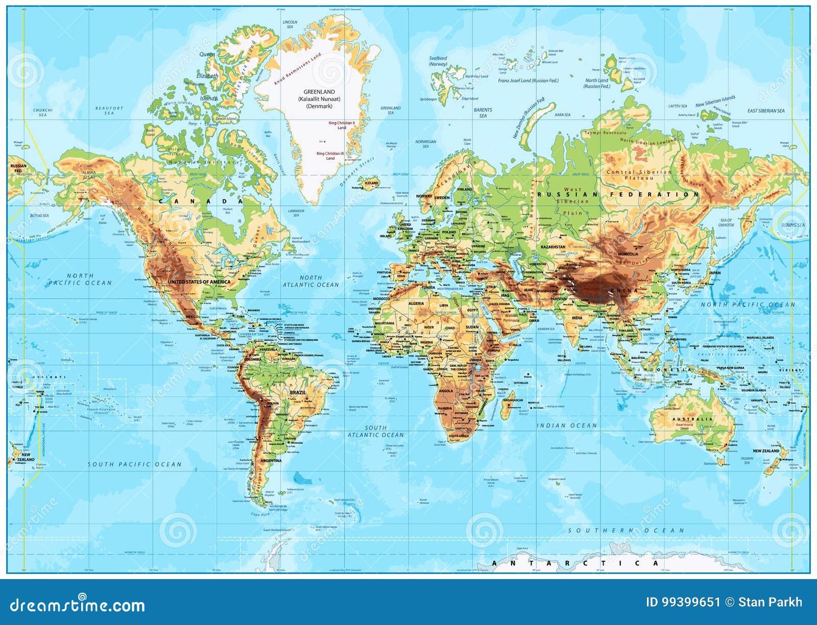 Cartina Mondo Hawaii.Mappa Di Mondo Fisica Dettagliata Illustrazione Vettoriale Illustrazione Di Grafico Africa 99399651