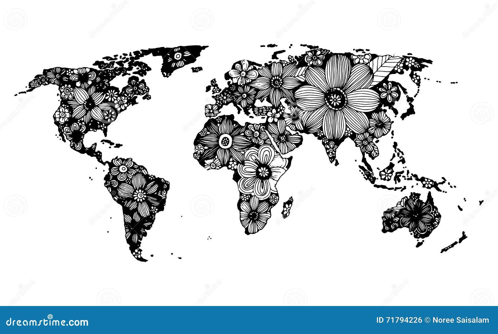 mappa di mondo floreale scarabocchio disegnato a mano e