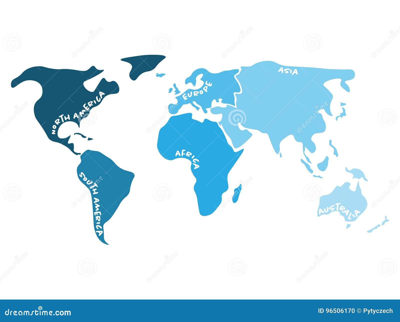 Mappa di mondo multicolore divisa a sei continenti nella s - Mappa di ungheria ed europa ...