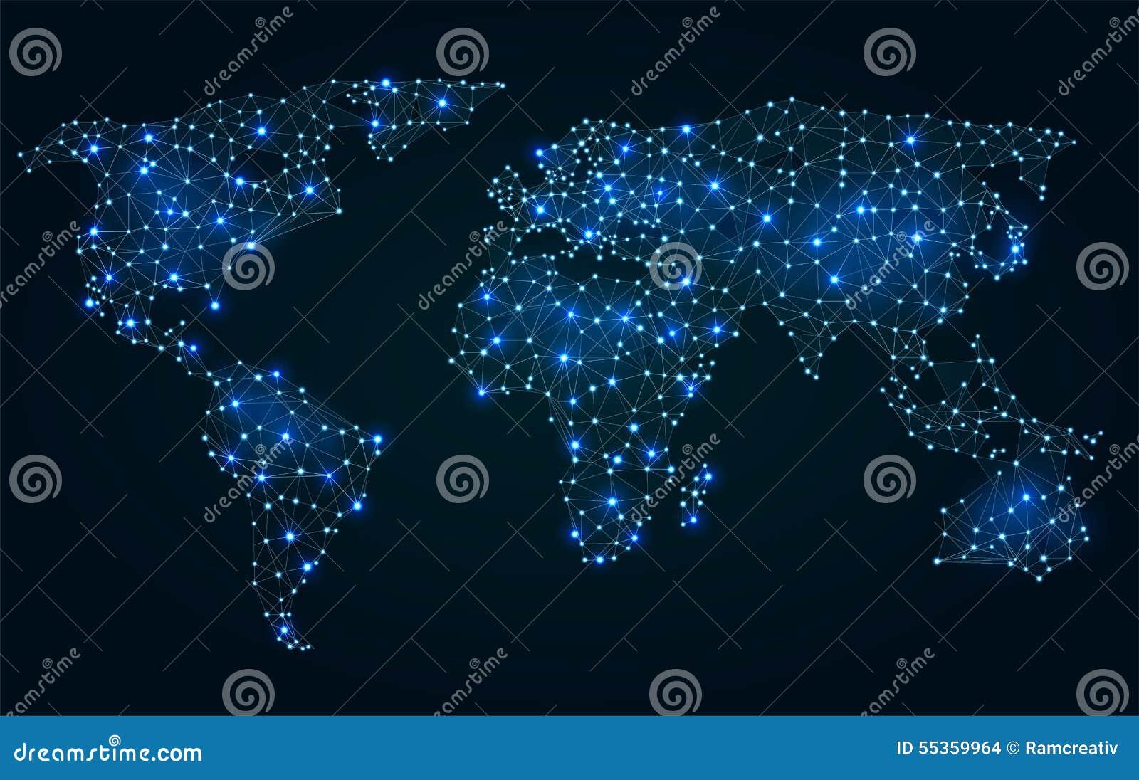Mappa di mondo poligonale astratta con i punti caldi
