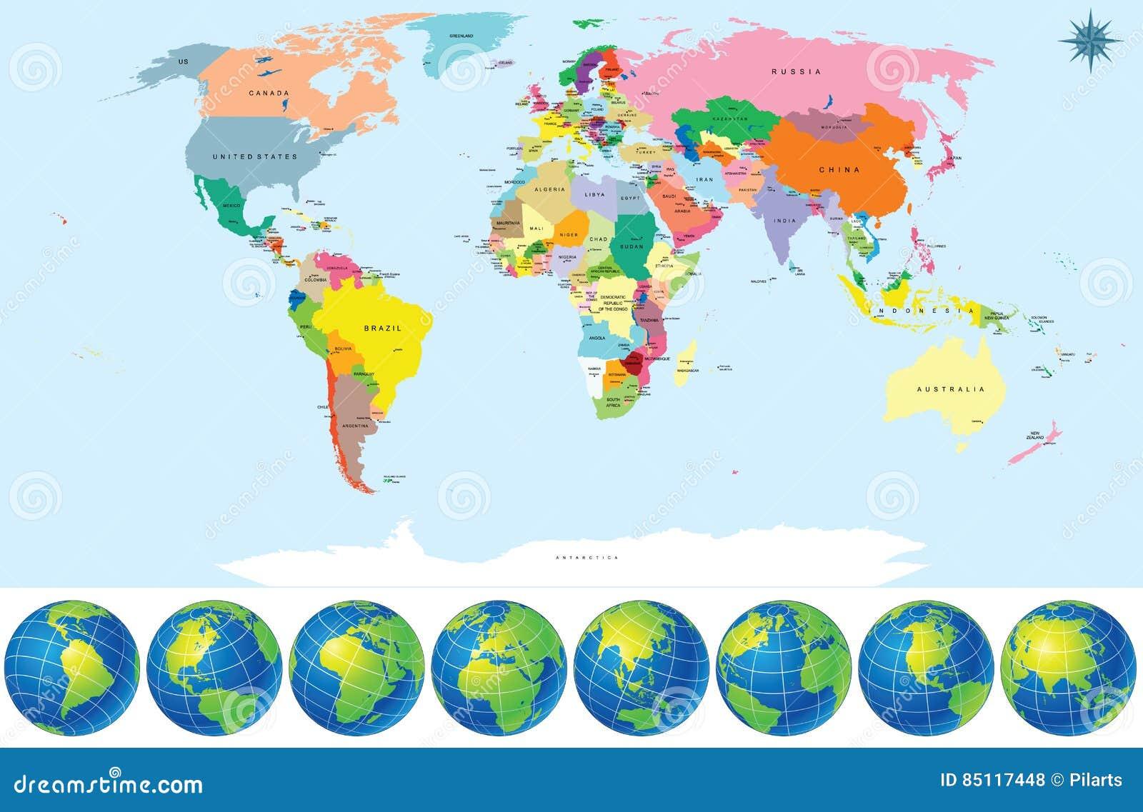 Cartina Mondo Politica Con Capitali.Mappa Di Mondo Politica Con I Globi Della Terra Illustrazione Vettoriale Illustrazione Di Profilo Formazione 85117448