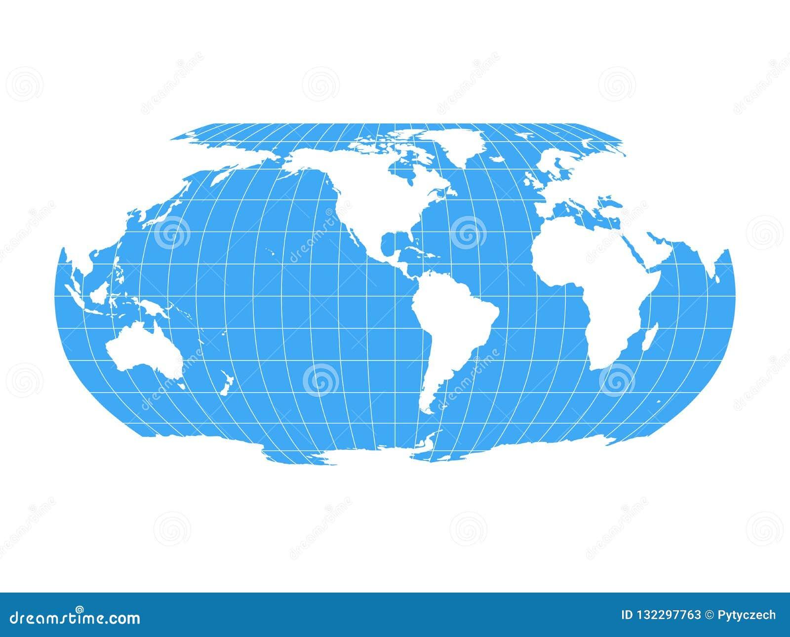 Cartina Del Mondo Con Meridiani E Paralleli.Mappa Di Mondo In Robinson Projection Con La Griglia Di
