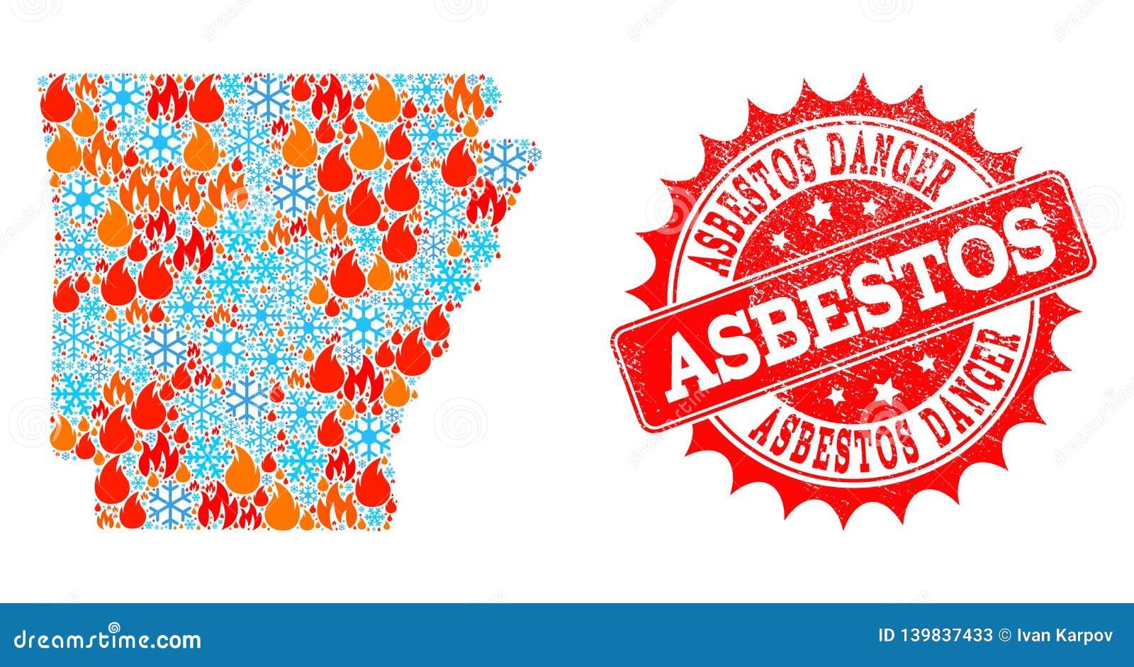 Mappa di mosaico dello stato dell Arkansas del bollo di emergenza del pericolo del fuoco e della neve e dell amianto