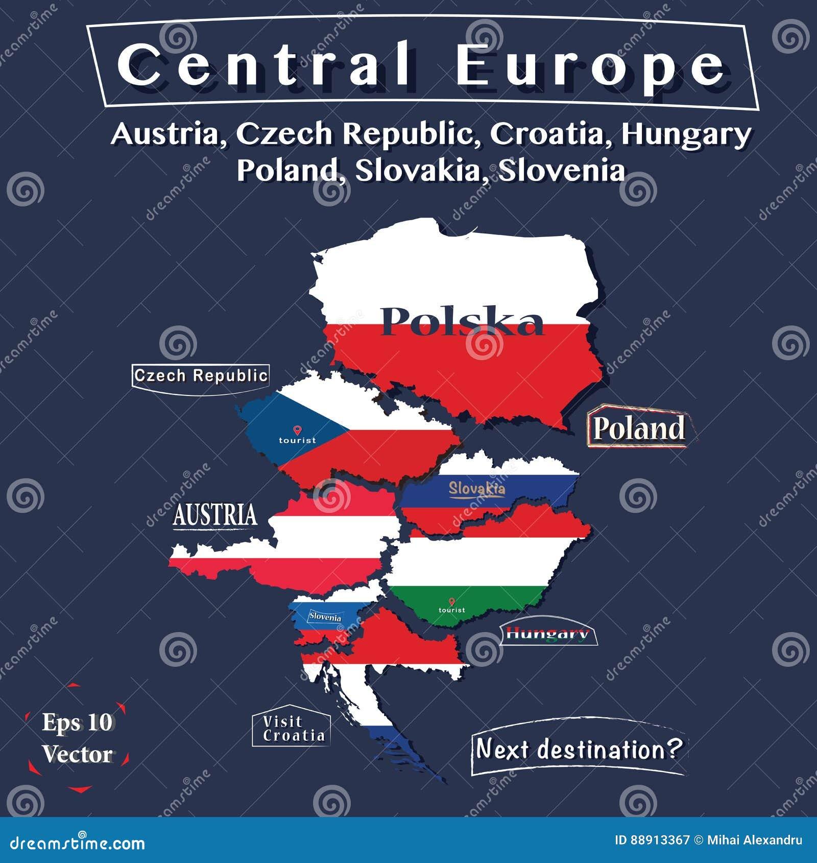 Mappa di politica dell 39 europa centrale l 39 austria - Mappa di ungheria ed europa ...