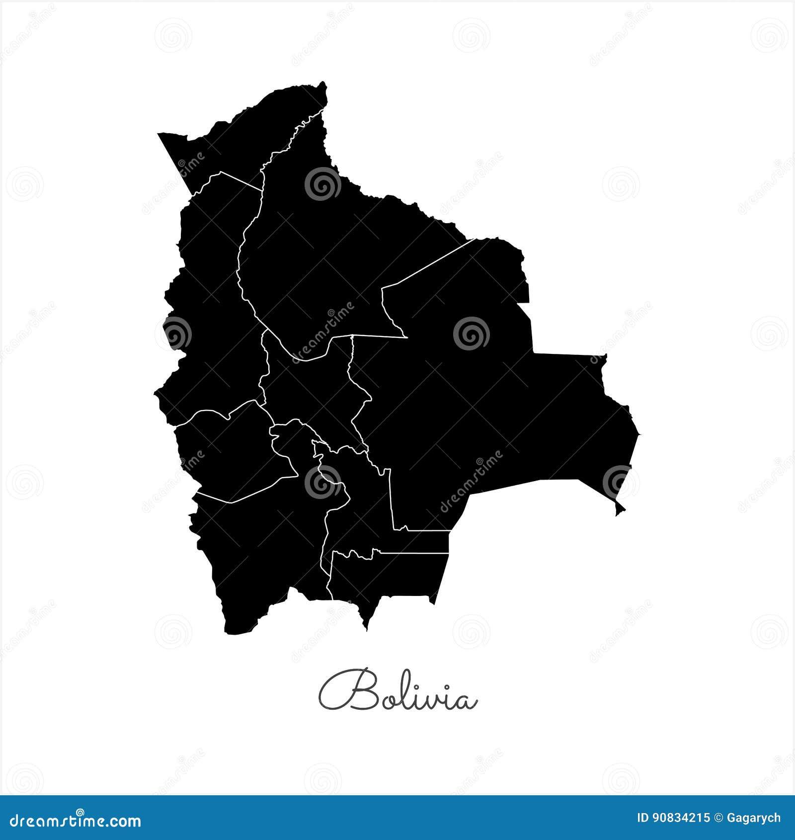 Mappa Di Regione Della Bolivia Profilo Nero Su Bianco Illustrazione