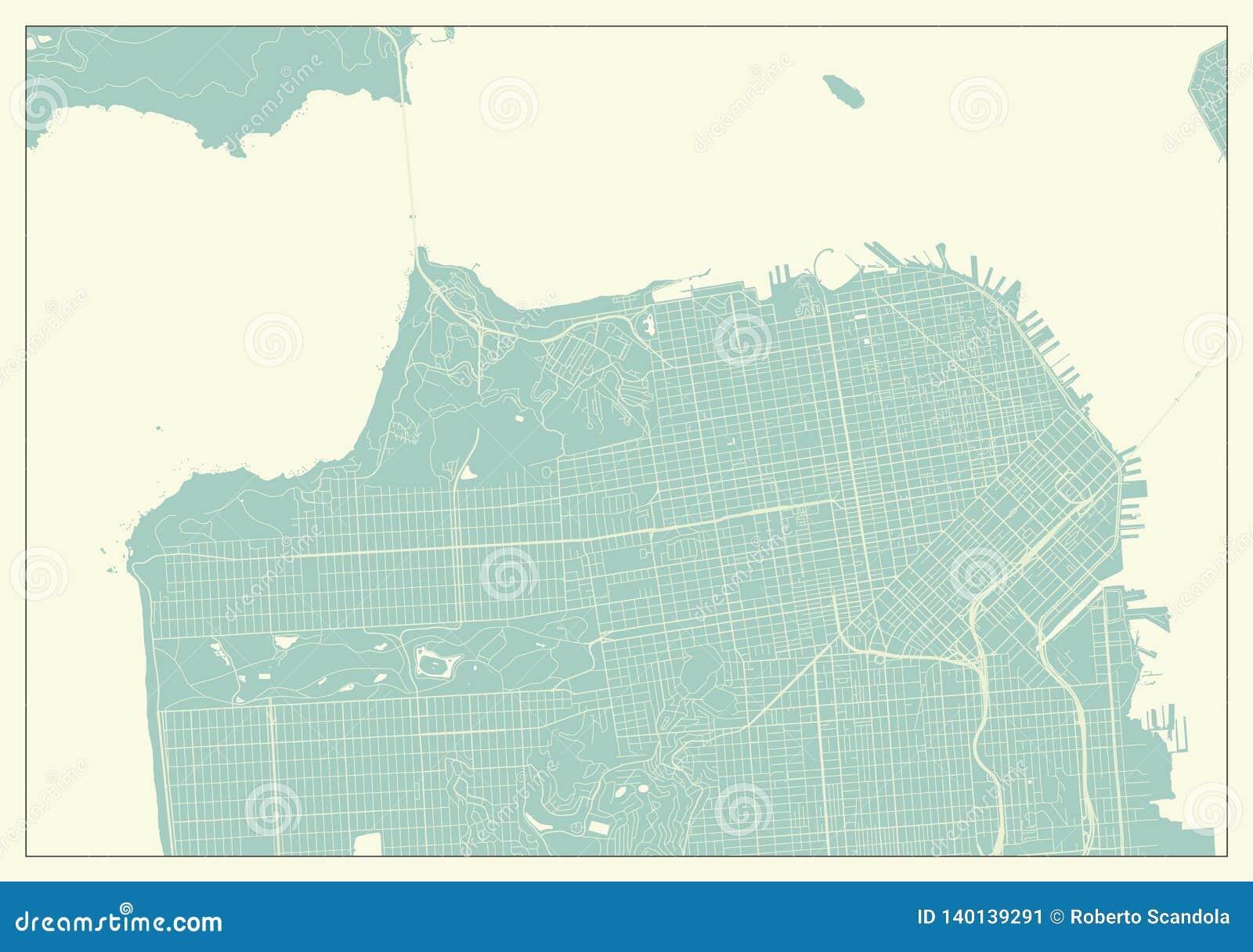 Mappa di San Francisco U.S.A. nel retro stile