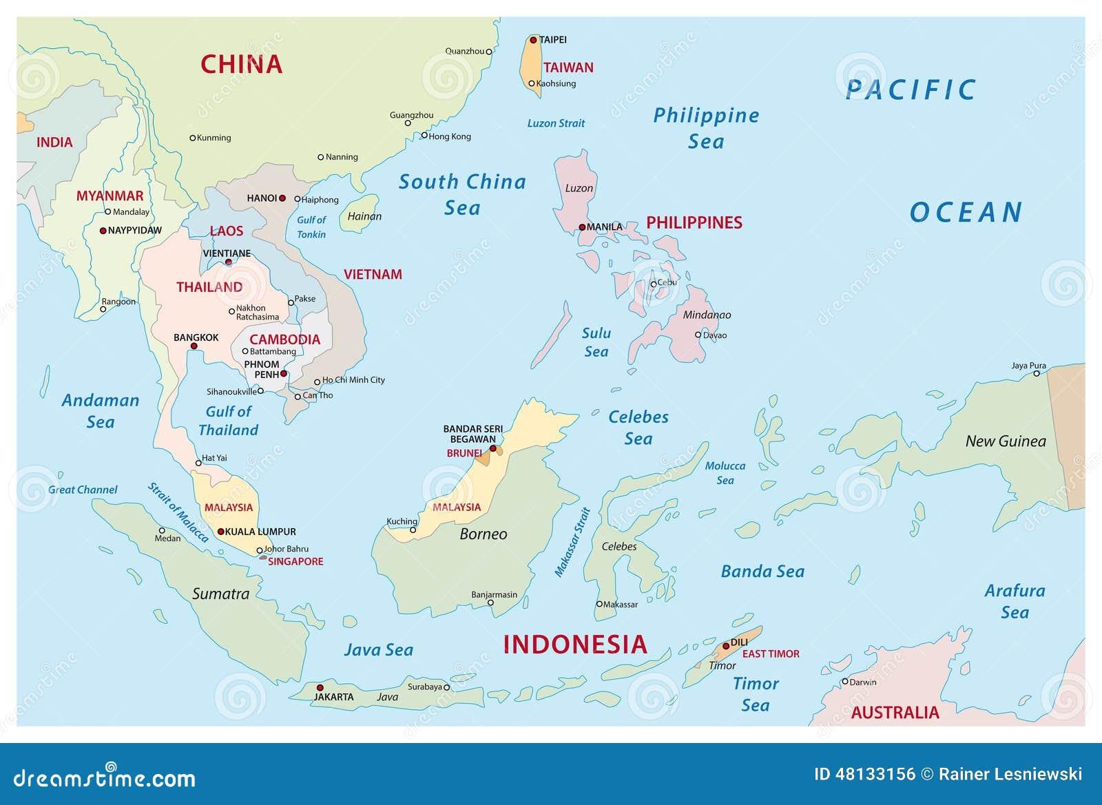 Mappa Di Sud-est Asiatico Illustrazione Vettoriale - Immagine ...