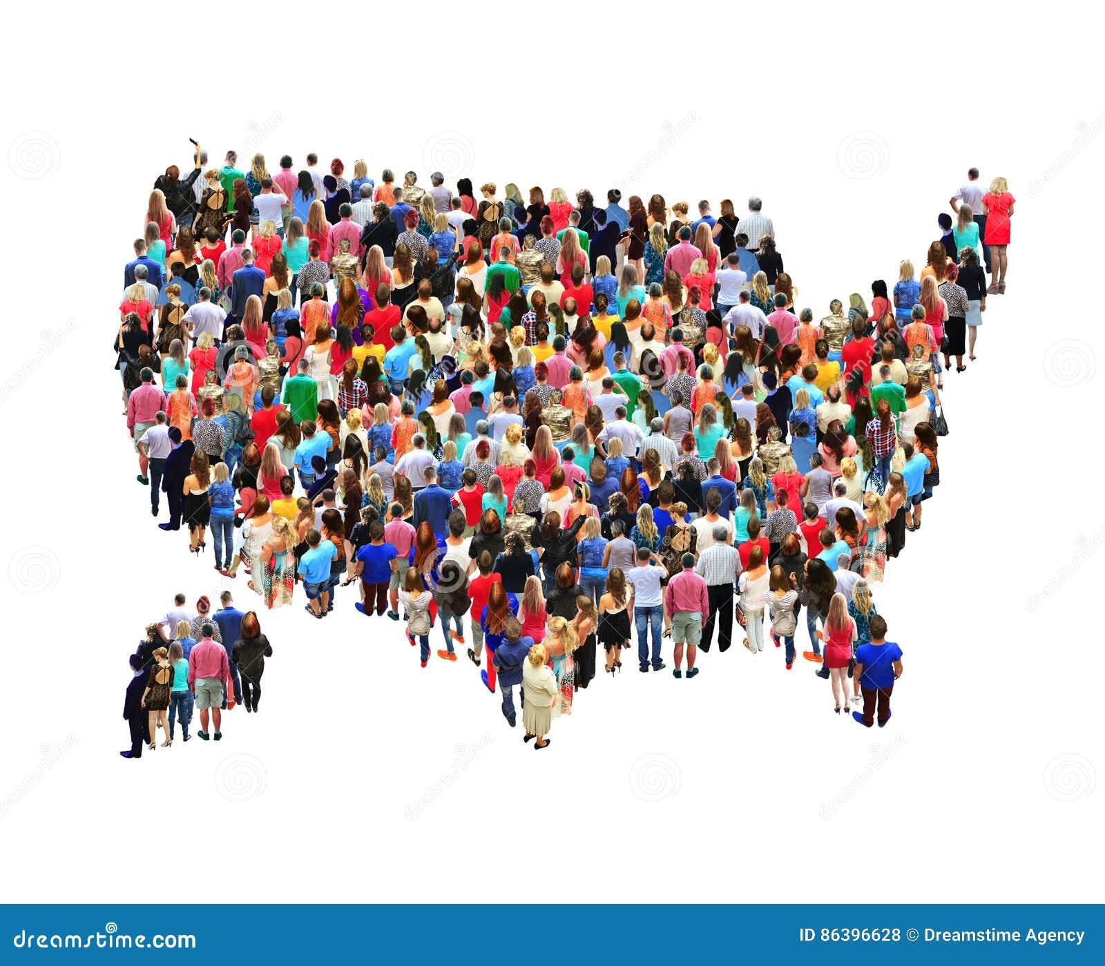 Mappa di U.S.A. con la gente isolata