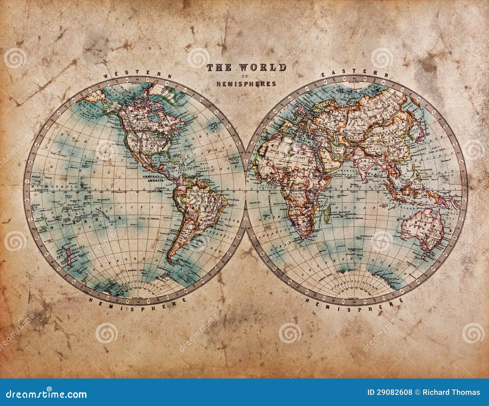 Mappa di vecchio mondo negli emisferi