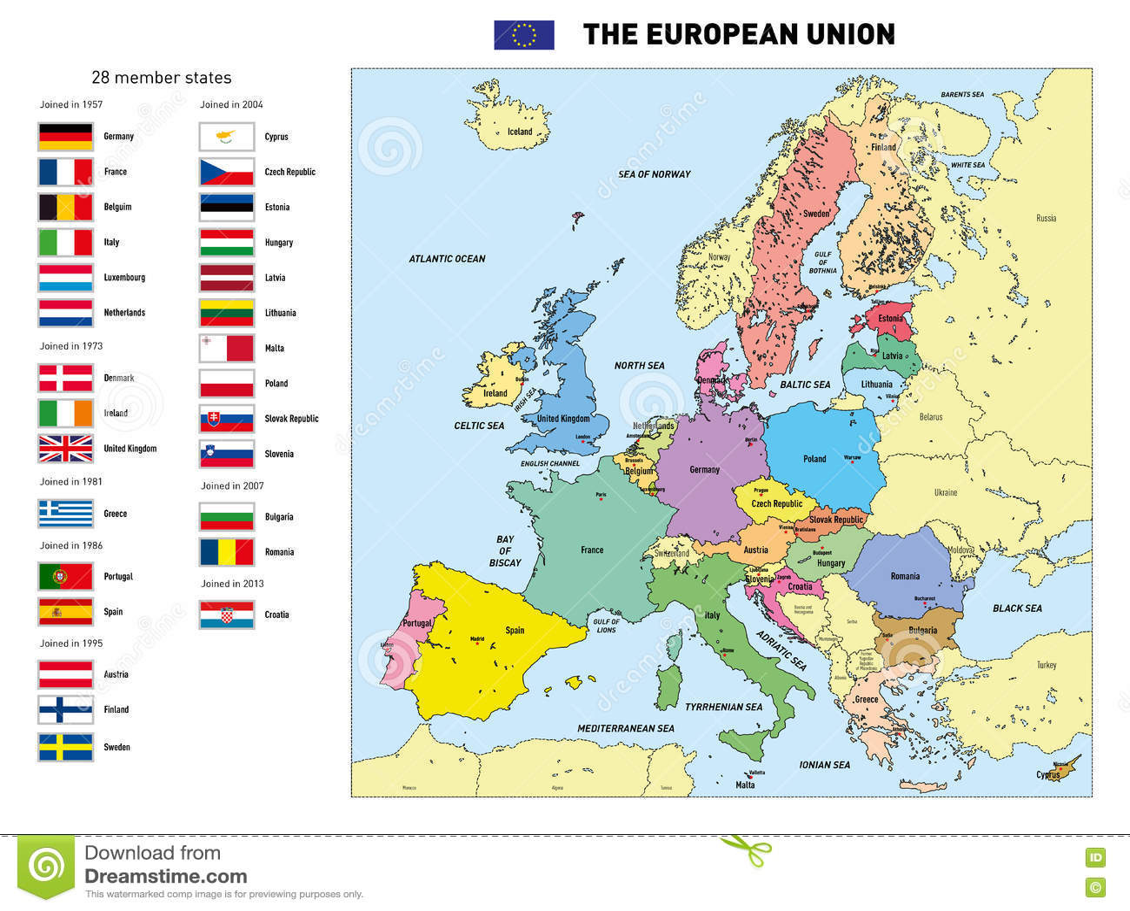 Cartina Europa Con Capitali E Stati.Mappa Di Vettore Dell Unione Europea Illustrazione Vettoriale