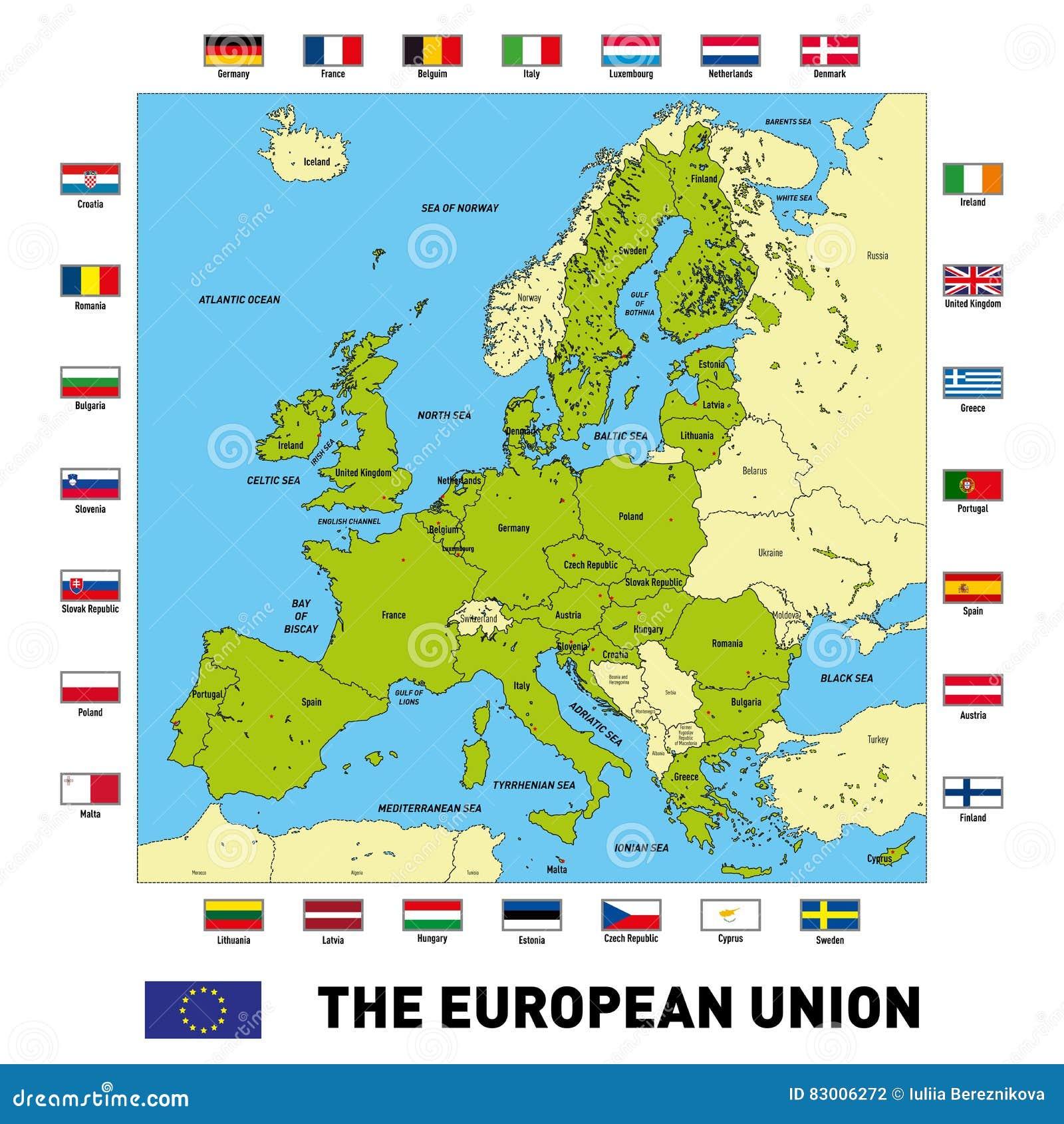 Cartina Unione Europea.Mappa Di Vettore Dell Unione Europea Illustrazione Vettoriale Illustrazione Di Terra Altamente 83006272