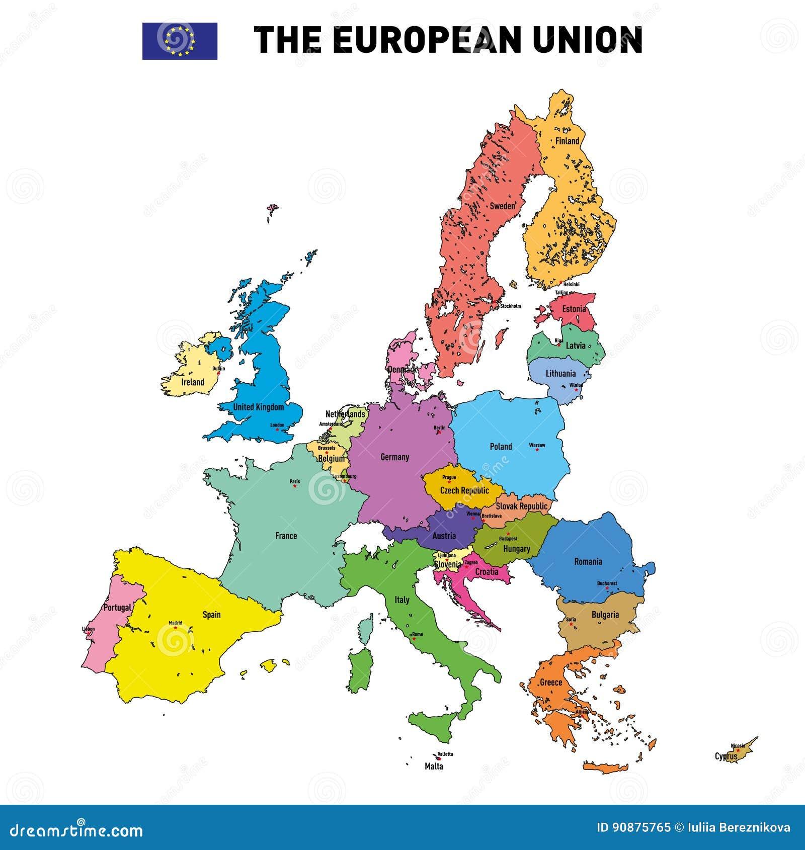 Cartina Con Capitali Europa.Mappa Di Vettore Dell Unione Europea Illustrazione Vettoriale Illustrazione Di Cartografia Paese 90875765