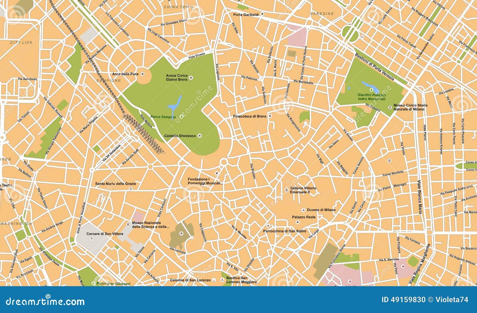 Mappa di vettore della citt di milano illustrazione di for Mappa della costruzione di casa