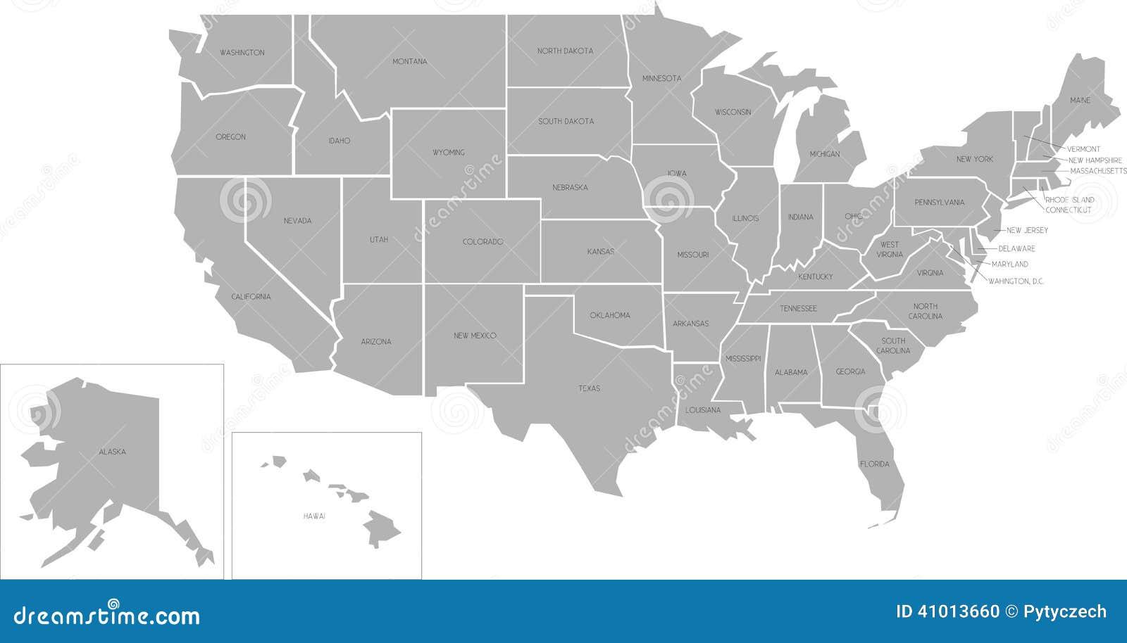 Mappa di vettore di Simlified di U.S.A.