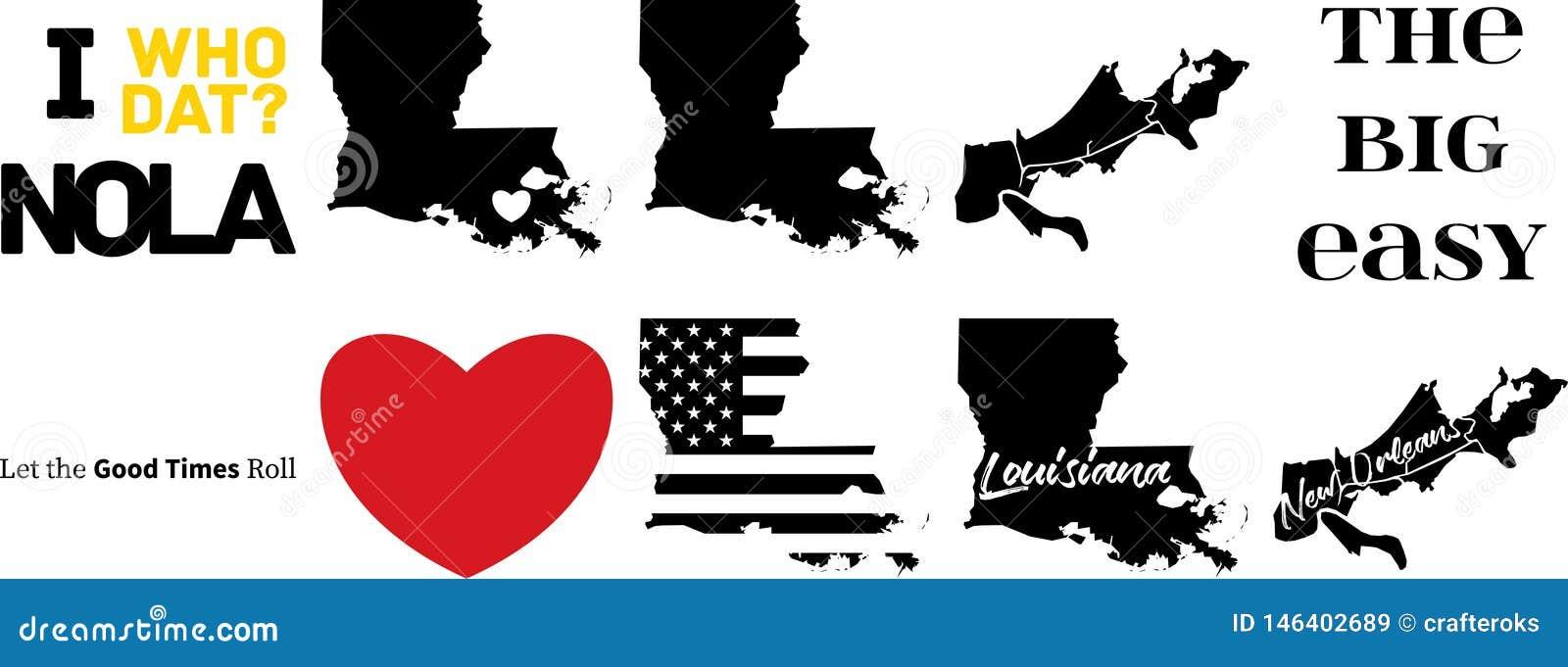 Mappa di vettore di New Orleans Luisiana