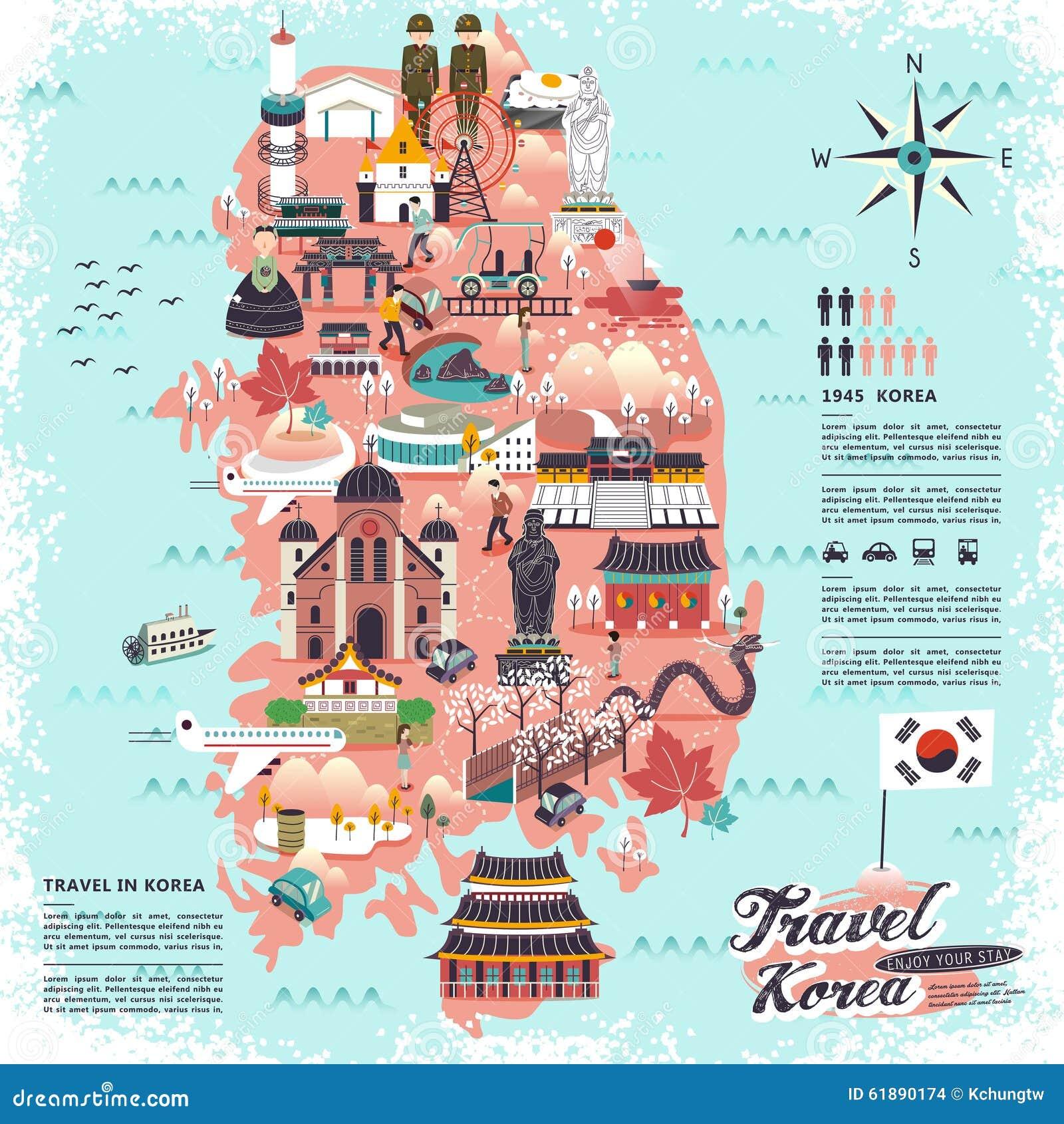 Mappa di viaggio della corea del sud illustrazione di for Casa di piantagioni del sud