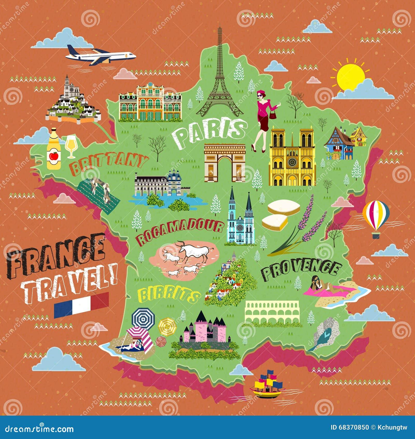 Cartina Della Francia Con Monumenti.Mappa Di Viaggio Della Francia Illustrazione Vettoriale Illustrazione Di Attrazioni Castello 68370850
