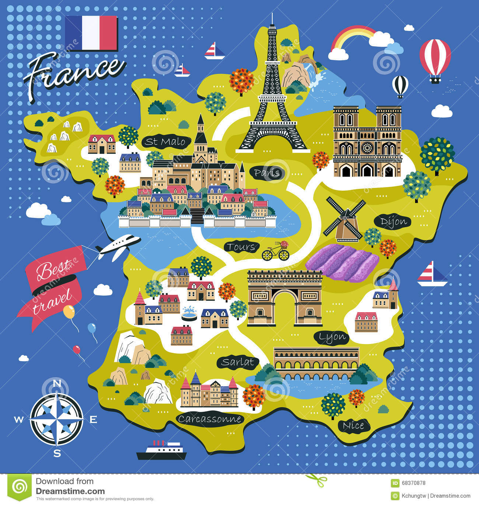 Cartina Della Francia Con Monumenti.Mappa Di Viaggio Della Francia Illustrazione Vettoriale Illustrazione Di Adorabile Castello 68370878