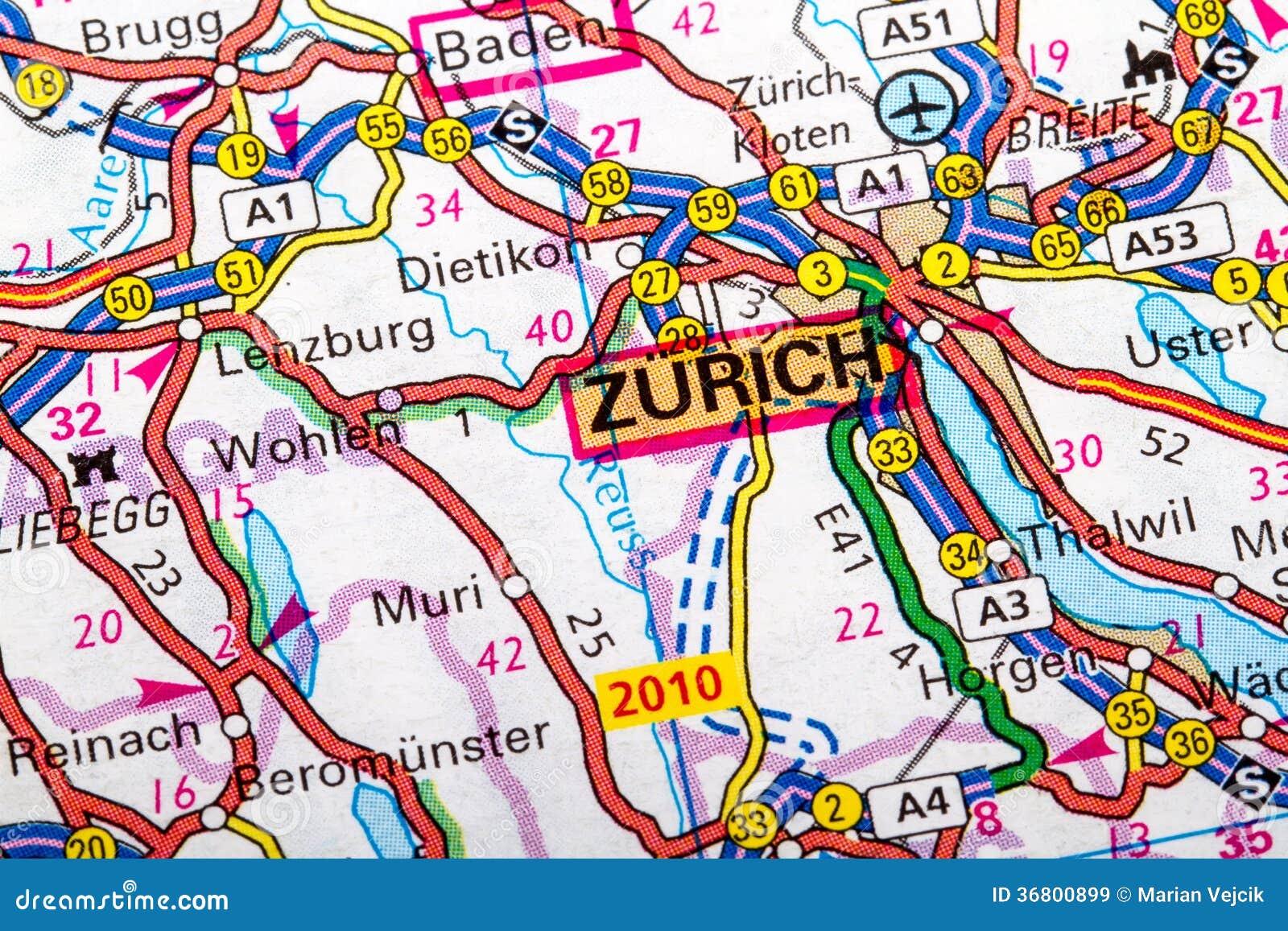 Aeroporto Zurigo Mappa : Mappa di zurigo immagine stock festa corsa