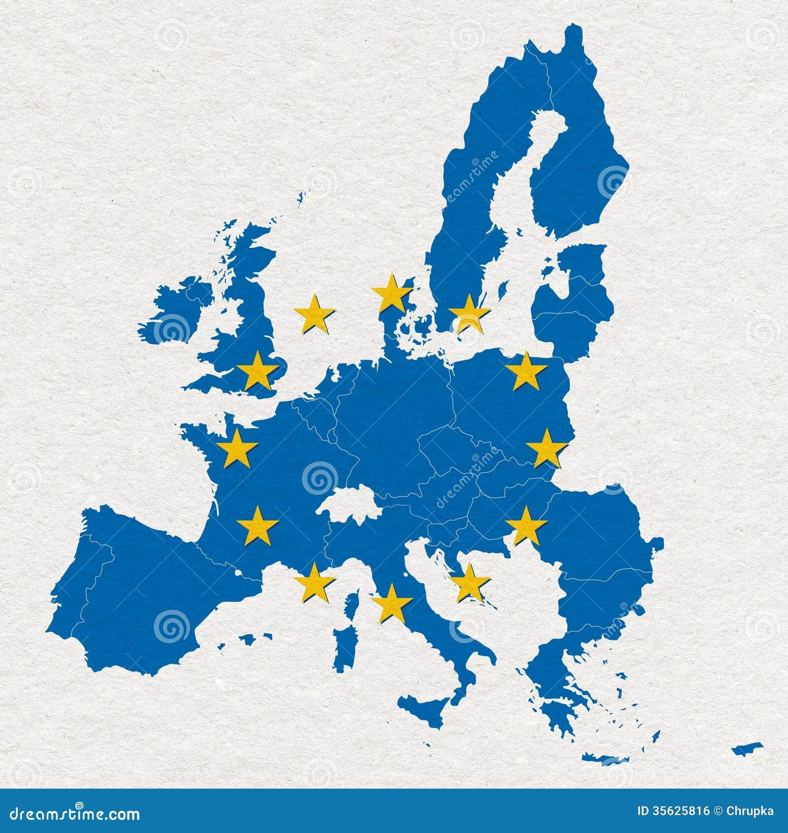 Mappa e bandiera di Unione Europea su struttura bianca della carta fatta a mano