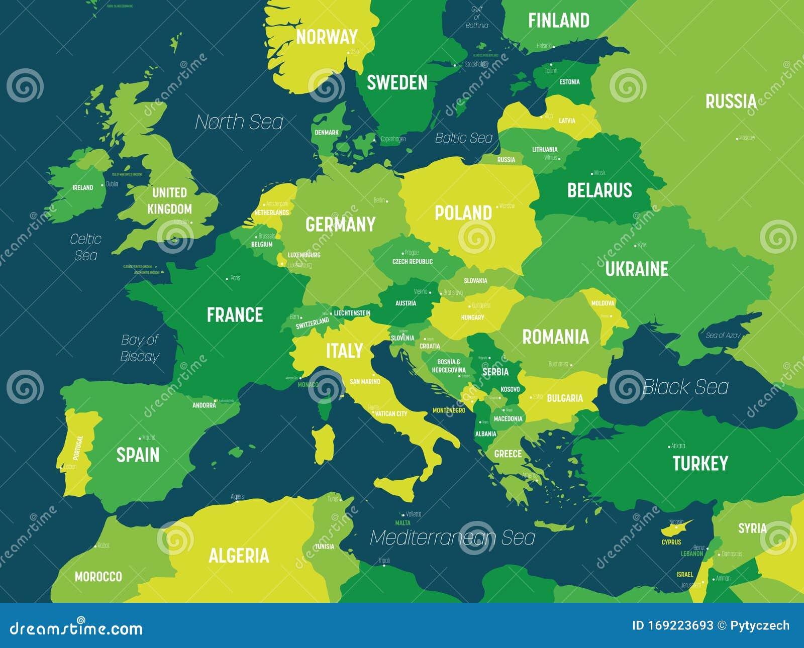 Cartina Con Capitali Europa.Mappa Europea Colore Verde Su Sfondo Scuro Cartina Politica Del Continente Europeo Con Il Paese Illustrazione Vettoriale Illustrazione Di Europeo Europa 169223693