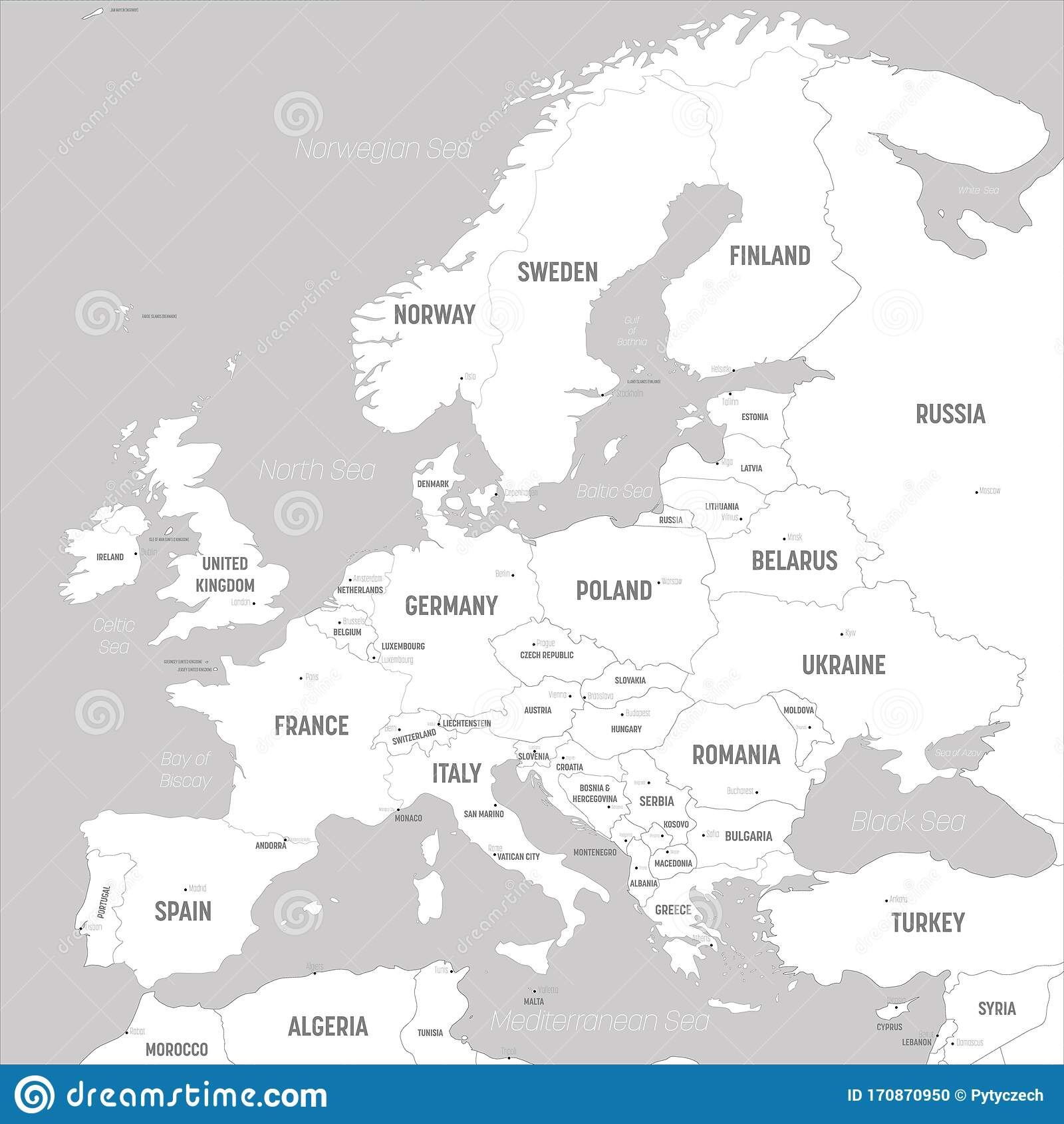 Cartina Con Capitali Europa.Mappa Europea Terre Bianche E Acque Grigie Mappa Politica Del Continente Europeo Con Paesi Capitali Oceani Illustrazione Vettoriale Illustrazione Di Identificato Scuro 170870950