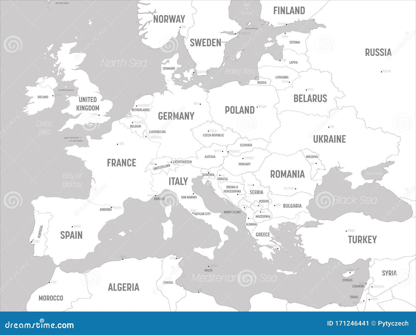 Cartina Con Capitali Europa.Mappa Europea Terre Bianche E Acque Grigie Mappa Politica Del Continente Europeo Con Paesi Capitali Oceani Illustrazione Vettoriale Illustrazione Di Isolato Geografico 171246441