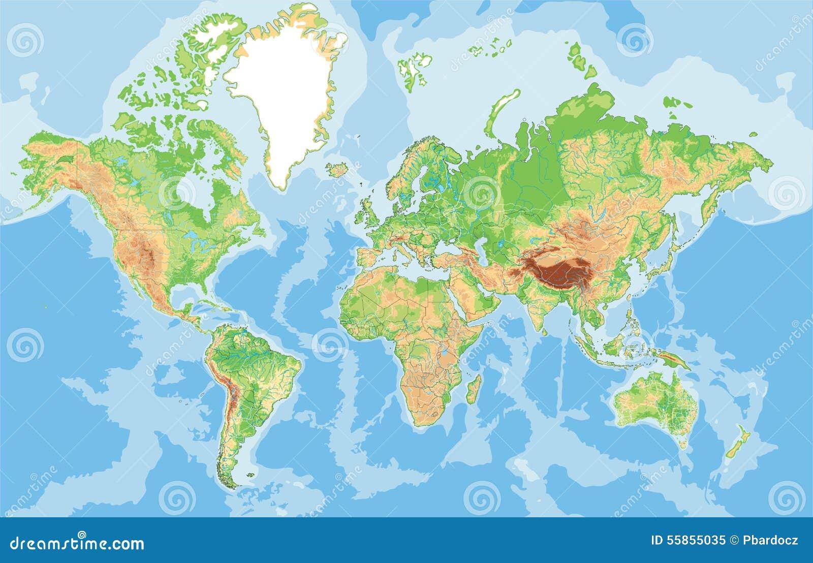 Cartina Muta Mondo Fisica.Mappa Fisica Altamente Dettagliata Del Mondo Illustrazione Vettoriale Illustrazione Di Atlante Disegno 55855035
