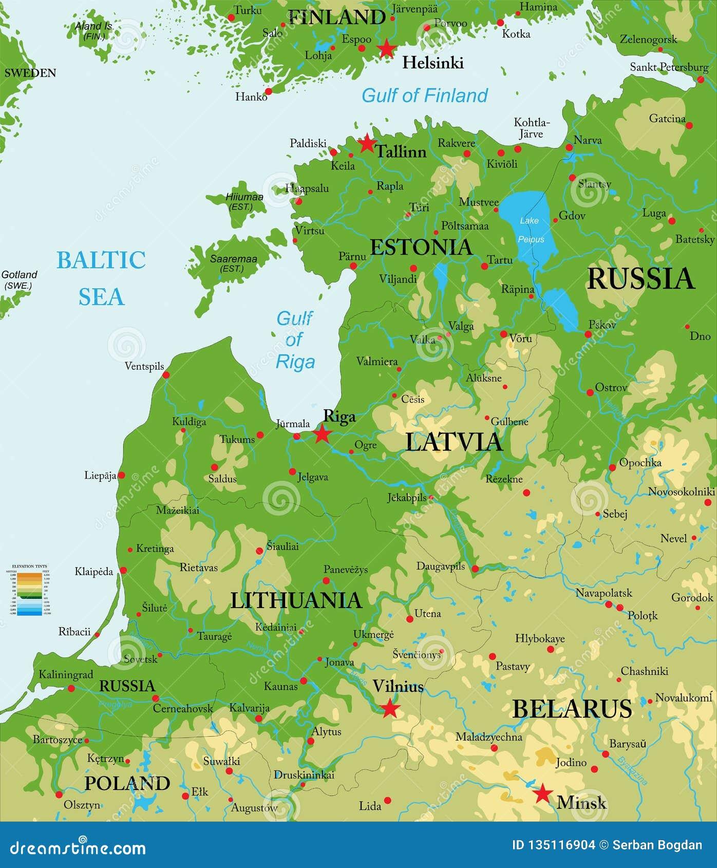 Cartina Russia Europea Fisica.Mappa Fisica Dei Paesi Baltici Illustrazione Vettoriale Illustrazione Di Russia Continente 135116904