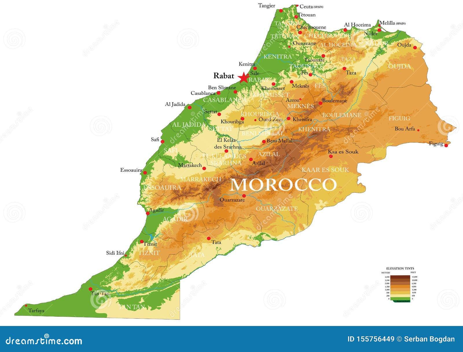 Cartina Geografica Fisica Del Marocco.Mappa Fisica Del Marocco Illustrazione Vettoriale Illustrazione Di Atlantico 155756449