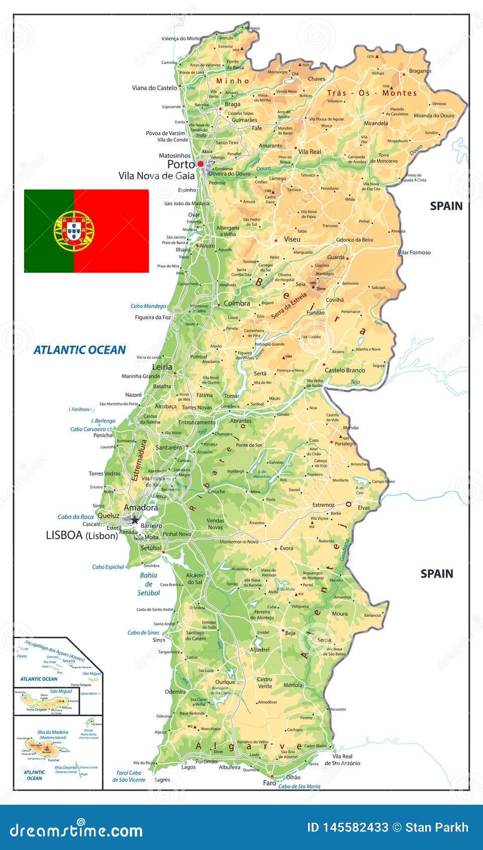 Cartina Portogallo Dettagliata.Mappa Fisica Del Portogallo Isolata Su Bianco Illustrazione