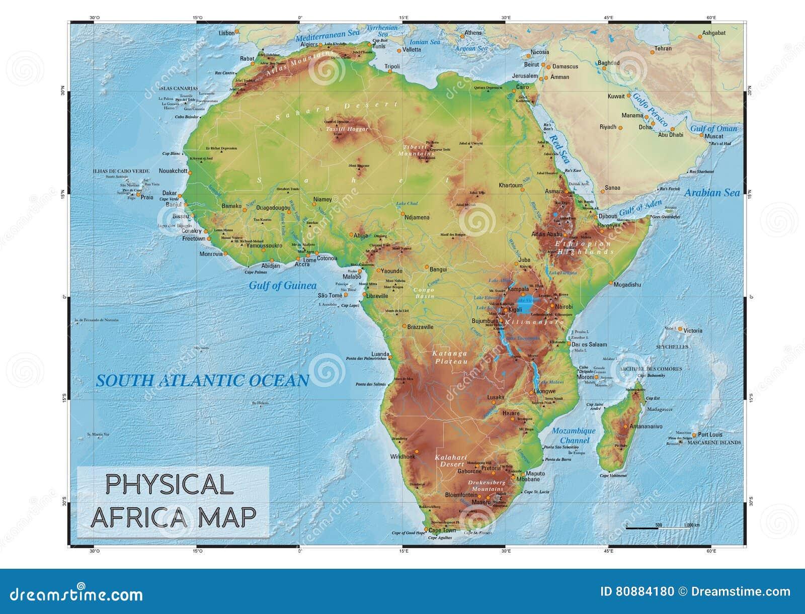 Immagini Cartina Fisica Africa.Mappa Fisica Dell Africa Illustrazione Vettoriale Illustrazione Di Fiumi 80884180