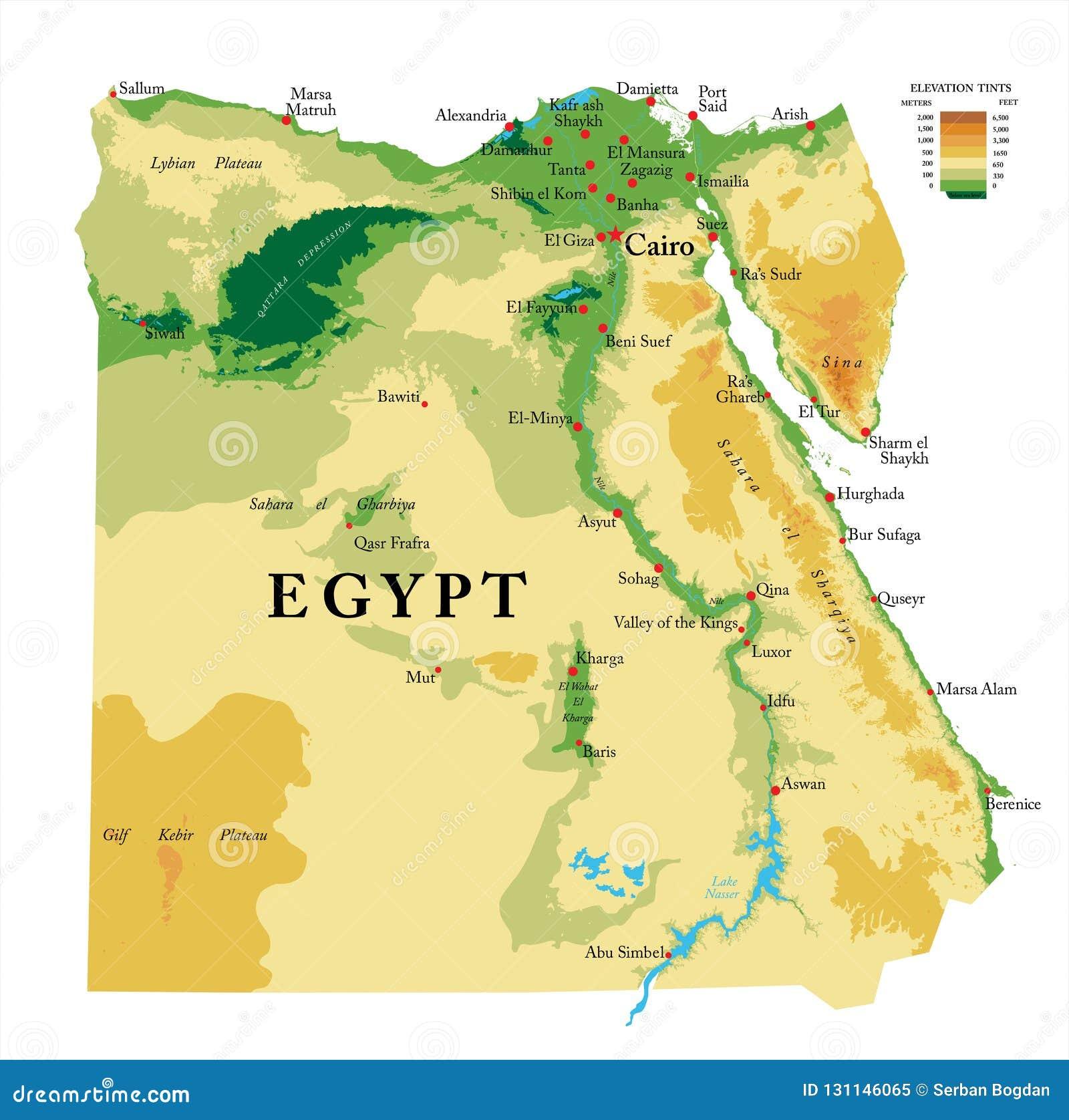 Cartina Del Egitto.Mappa Fisica Dell Egitto Illustrazione Vettoriale Illustrazione