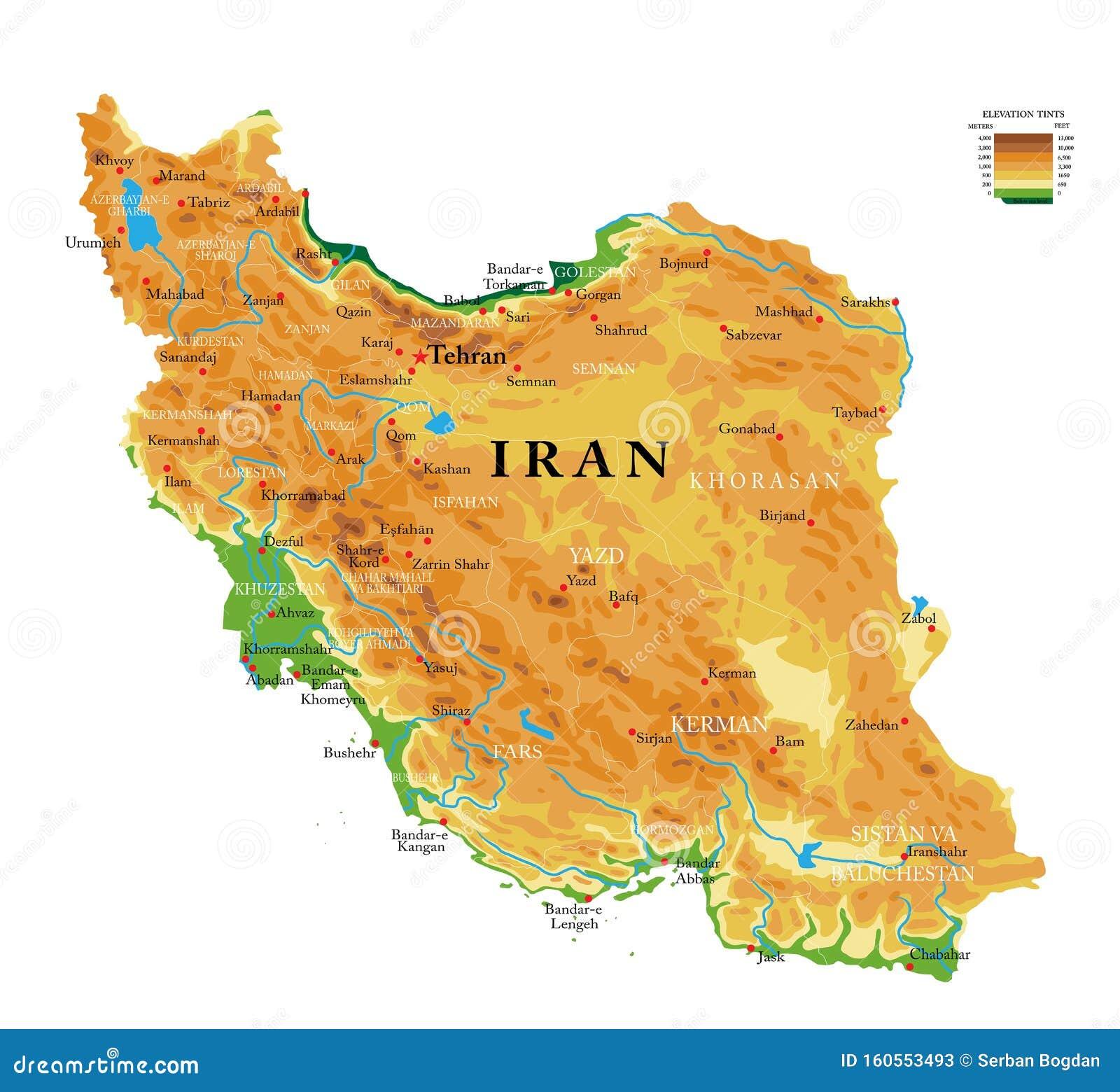 Medio Oriente Cartina Fisica.Mappa Fisica Dell Iran Illustrazione Vettoriale Illustrazione Di Siluetta 160553493