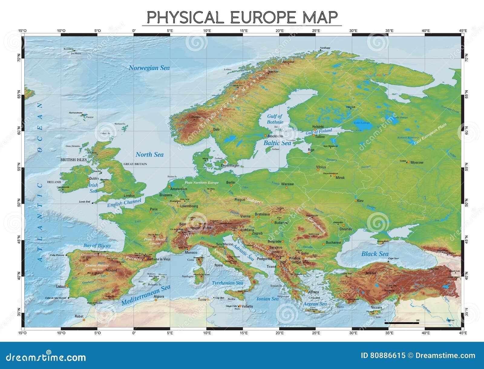 Cartina Fisica Europa Con Fiumi.Mappa Fisica Di Europa Illustrazione Vettoriale