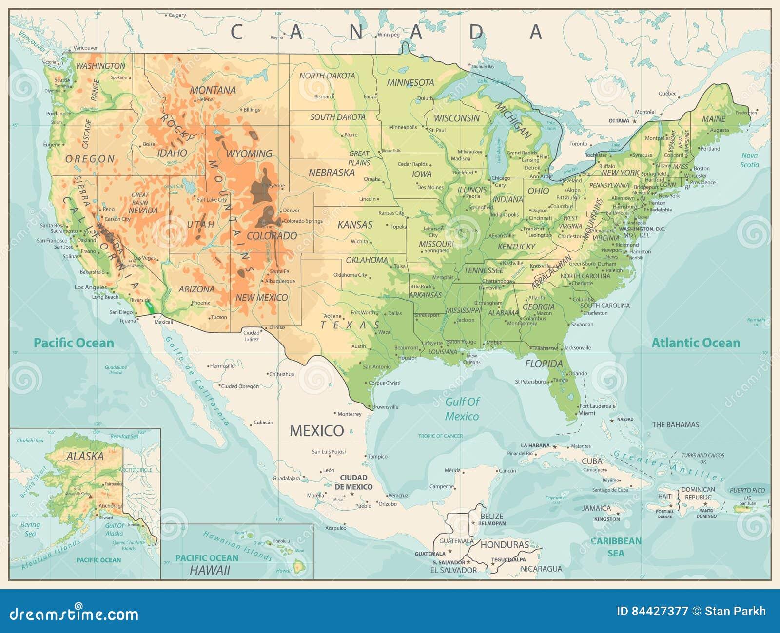 Cartina Geografica Fisica Degli Usa.Mappa Fisica Di Retro Colore Di U S A Illustrazione Vettoriale Illustrazione Di Paese Programma 84427377