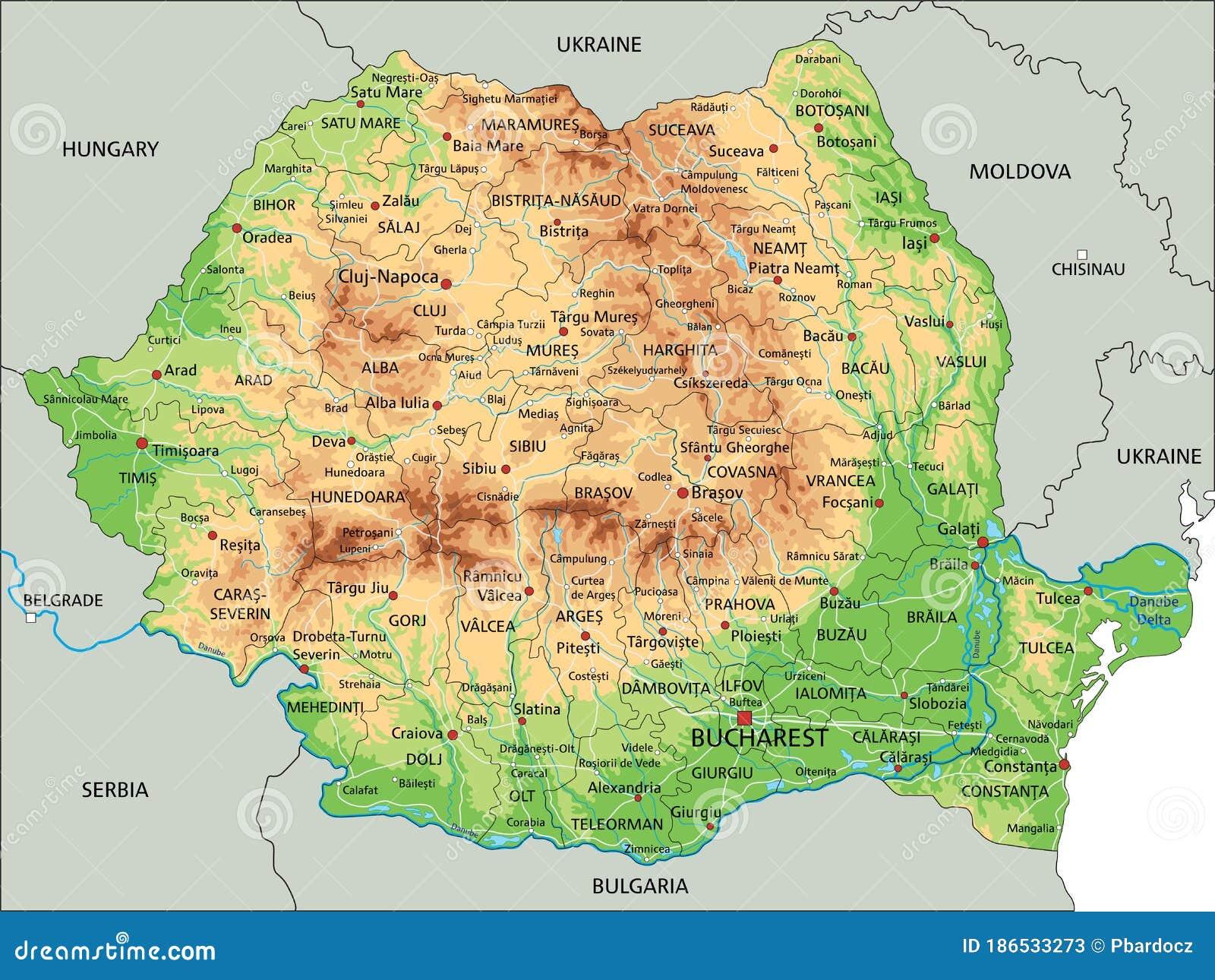 Cartina Geografica Fisica Della Romania.Mappa Fisica Romania Dettagliata Con Etichettatura Illustrazione Vettoriale Illustrazione Di Capitale Cartografia 186533273