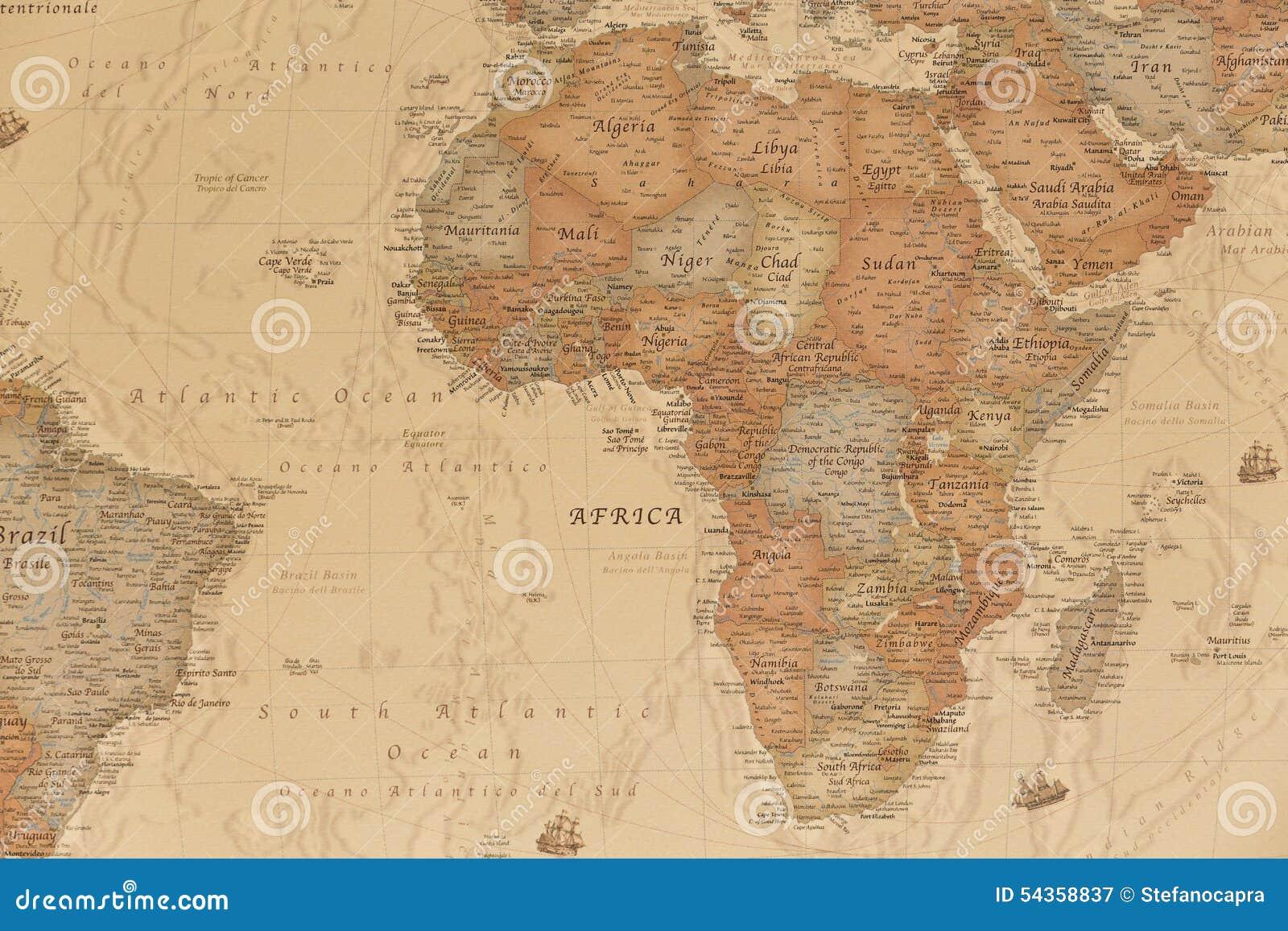 Cartina Giografica Africa.Mappa Geografica Antica Dell Africa Immagine Stock Immagine Di Bordo Grungy 54358837