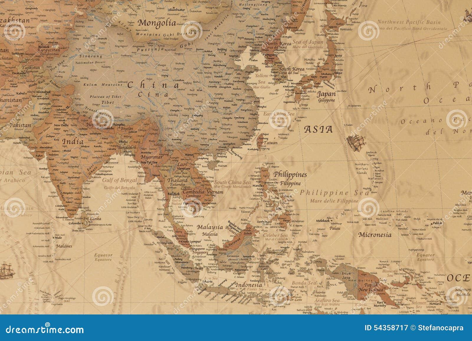 Cartina Geografica Antica.Mappa Geografica Antica Dell Asia Immagine Stock Immagine Di Geografico Grungy 54358717