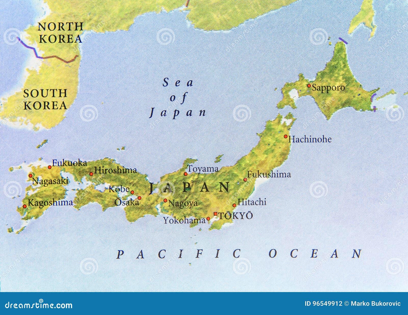 La Cartina Del Giappone.Mappa Geografica Del Giappone Con Le Citta Importanti Fotografia Stock Immagine Di Citta Geografica 96549912