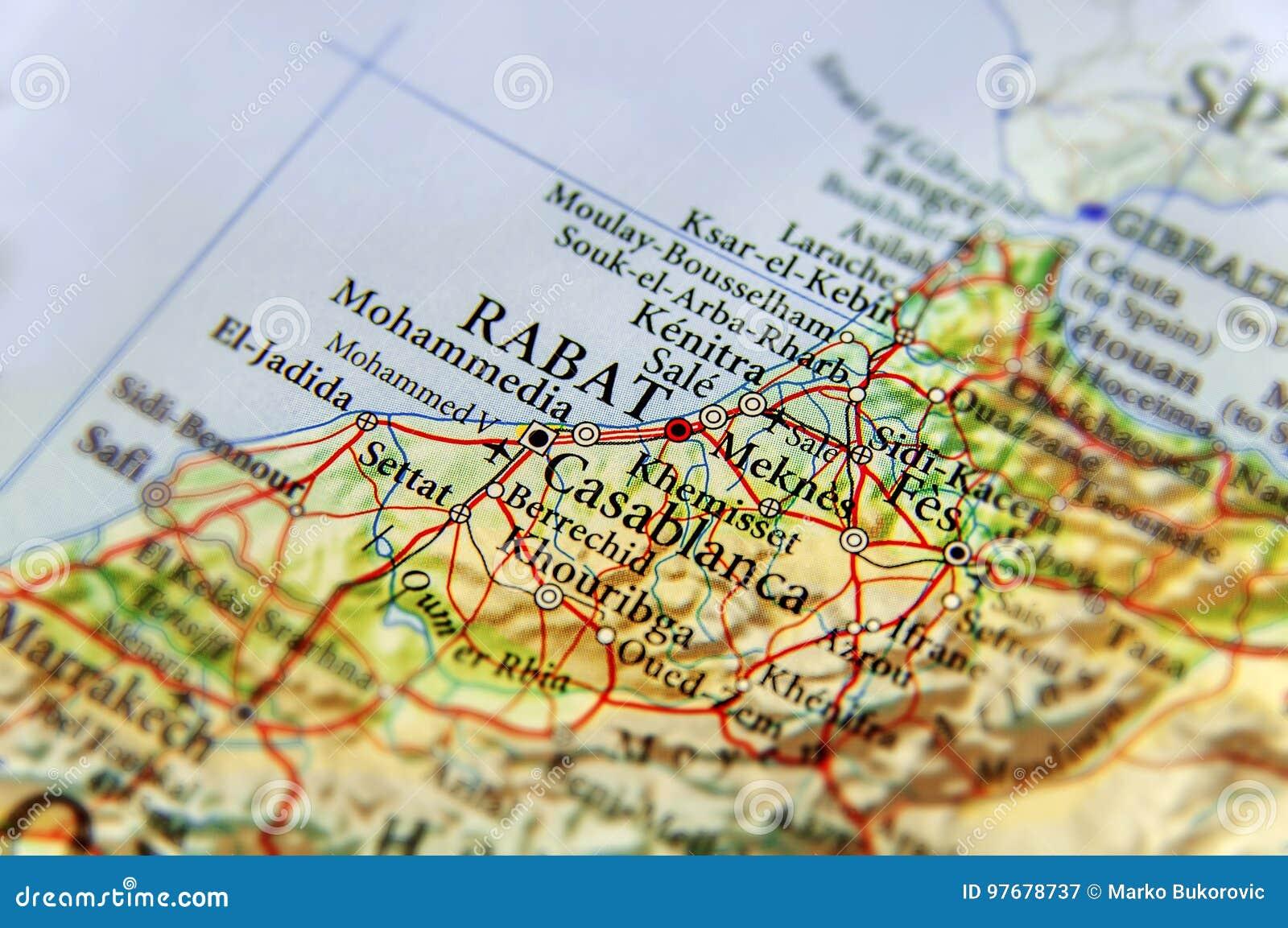 Cartina Stradale Marocco Gratis.Mappa Geografica Del Marocco Con La Capitale Rabat Immagine Stock Immagine Di Contrassegnato Politico 97678737