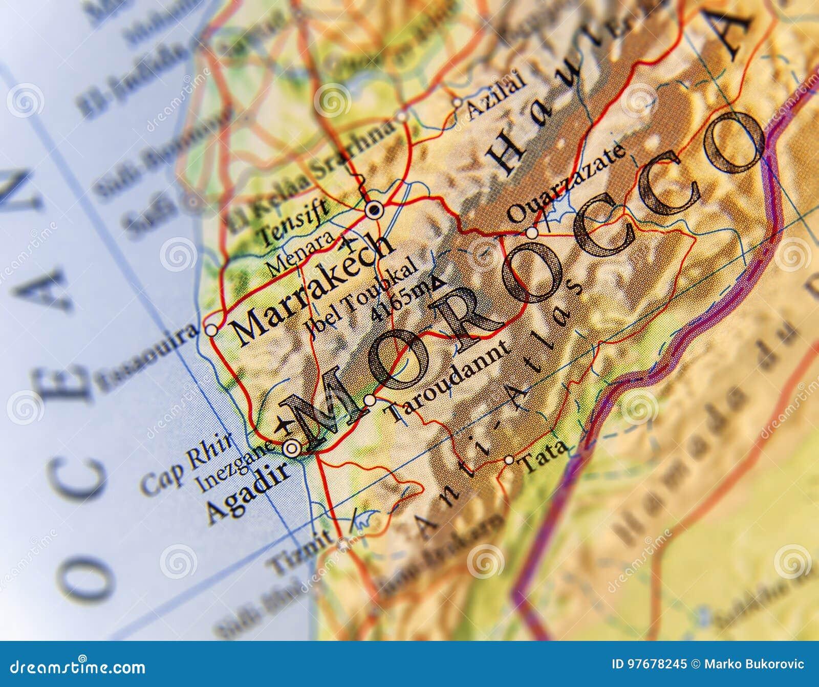 Cartina Politica Del Marocco.Mappa Geografica Del Paese Del Marocco Con Le Citta Importanti Immagine Stock Immagine Di Politicamente Canarino 97678245