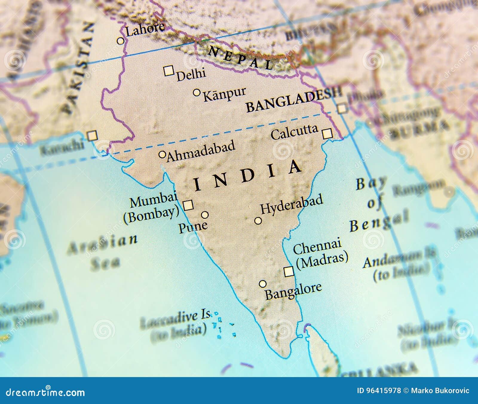 Cartina Geografica India Del Sud.Mappa Geografica Del Paese Dell India Con Le Citta Importanti Fotografia Stock Immagine Di Geografia Dichiari 96415978