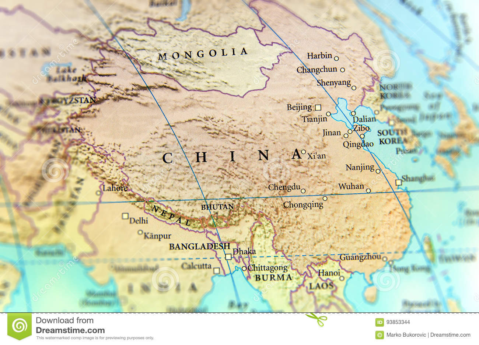 Cartina Geografica Della Cina.Mappa Geografica Del Paese Della Cina Con Le Citta Importanti
