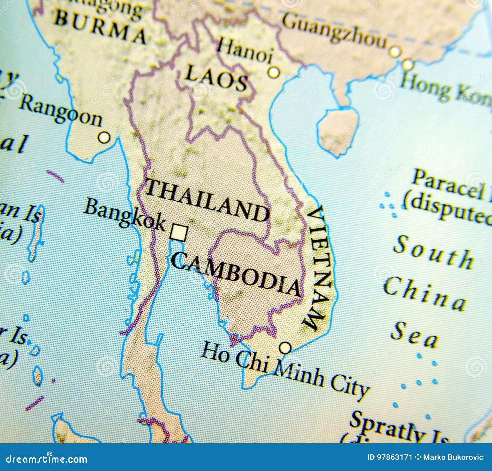 Tra Vietnam E Thailandia Cartina Geografica.Mappa Geografica Del Paese Della Tailandia Della Birmania Della Cambogia Del Vietnam E Del Laos Con Le Citta Importanti Immagine Stock Immagine Di Tracciato Importante 97863171