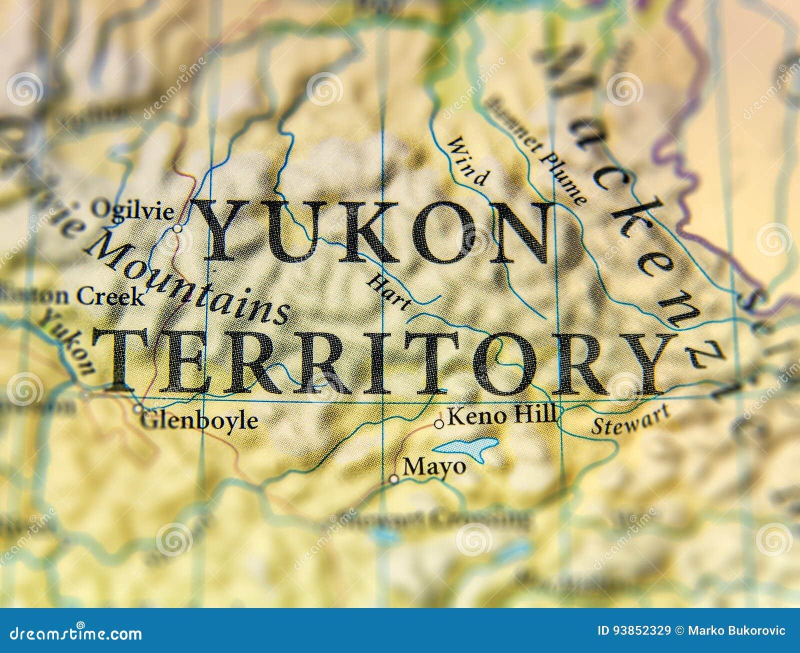 Mappa Geografica Del Territorio Dello Yukon Dello Stato Del Canada
